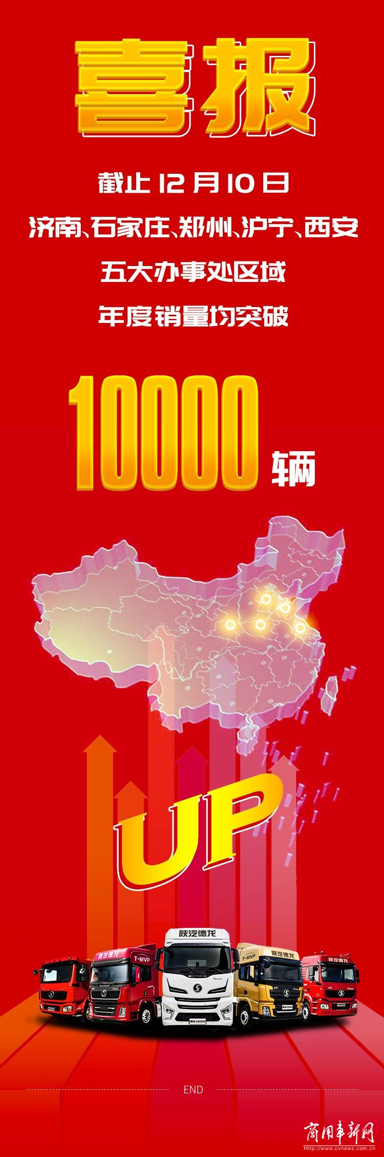 陕汽重卡五大区域年度销量均突破10000+